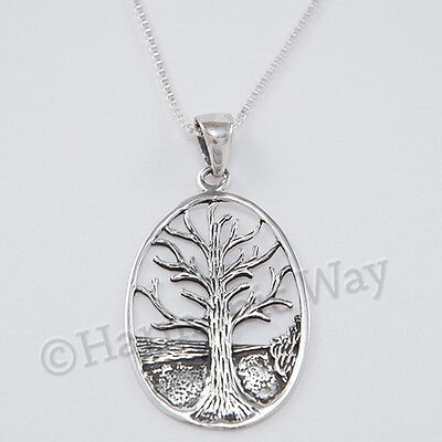 """CELTIC TREE OF LIFE Necklace Irish Pendant 18"""" box Chain 925 STERLING SILVER"""