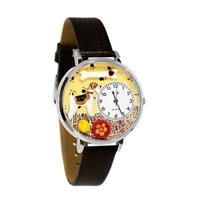 Whimsical Watches Unisex U0130039 Fox Terrier Black Skin Leather Watch