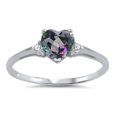 Sterling Silver Mystic Rainbow Topaz Heart Promise Ring (size 3-10) (Mystic Topaz Heart)