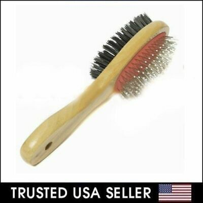 Double Side Bristle & Pin Pet Dog Cat Hair Grooming Brush Fur Shedding Tool NEW