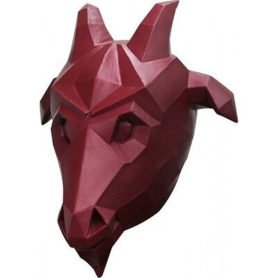 Goat Head Red Low Poly Mask Fancy Dress Adult