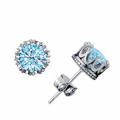 Women Earring Fashion 925 Sterling Silver Royal Ear Stud Earrings Jewelry Blue