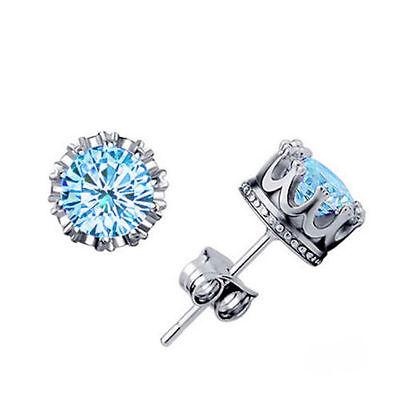 Women Earring Fashion 925 Sterling Silver Royal Ear Stud Earrings Jewelry Blue
