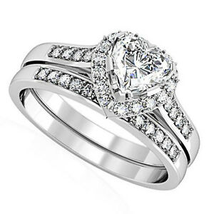 Heart-Shape-CZ-Wedding-Band-Rhodium-Plated-Ring-Set