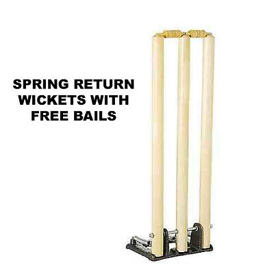 Cricket Wooden Spring Return Stumps With Bails & Metal Base Wickets