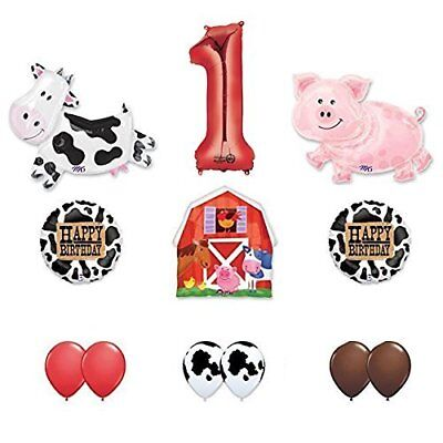 Barn Farm Animals 1st Birthday Party Supplies Cow, Pig, Barn Balloon Decorations - Farm Animals Party Supplies