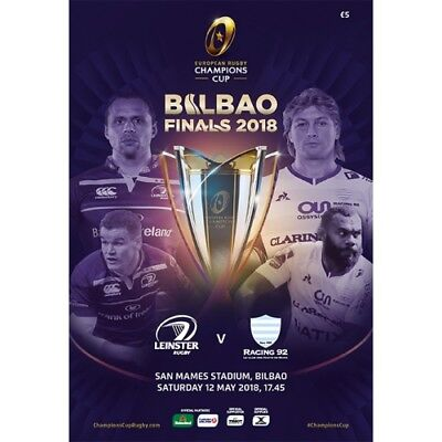 LEINSTER V RACING 92 CHAMPIONS CUP FINAL 12/5/2018 PROGRAMME