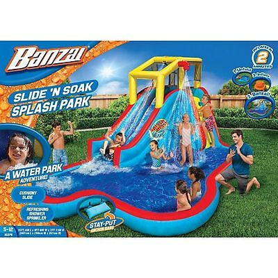 NEW Banzai Slide 'N Soak Splash Park Inflatable Waterslide with Splash Pool