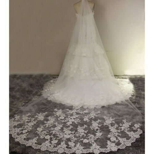 10ft Ivory White Cathedral Length Lace Edge Bride Wedding Bridal Long Veil+Comb