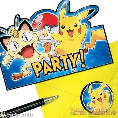 POKEMON Pikachu & Friends INVITATIONS (8) ~ Birthday Party Supplies Stationery