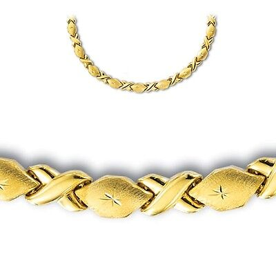 Diamond Cut Hugs & Kisses XOXOXO Chain Necklace Real 14K Yellow Gold