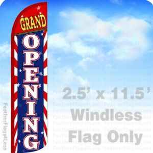 GRAND OPENING - WINDLESS Swooper Feather Flag Banner Sign 2.5x11.5' -  stripes z