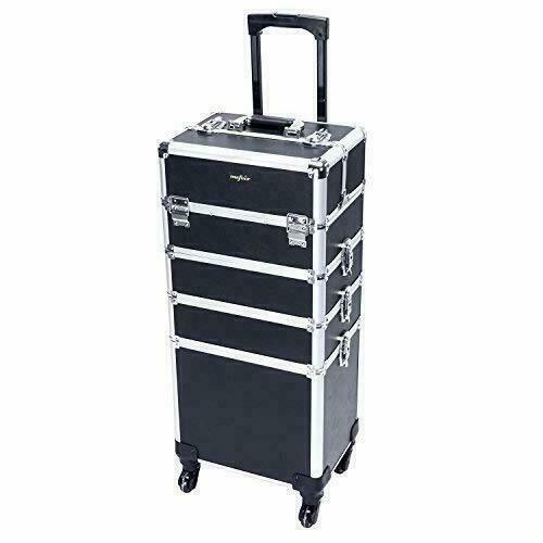 Mefeir 4-In-1 Rolling Makeup Train Case,4 Removable Wheels W