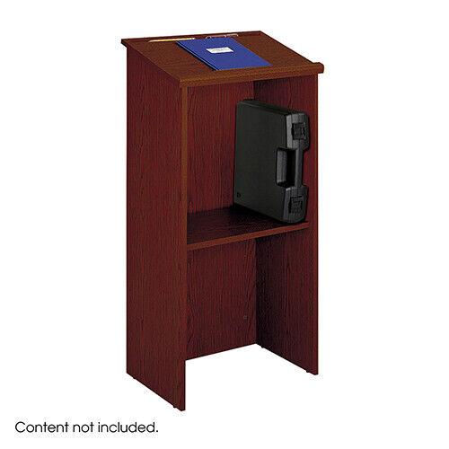 Safco Cherry Stand up Lectern, Floor-standing Podium, Adjustable Shelf