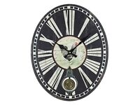 New Rooster and Pendulum Roman wall clock, shabby chic