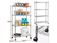 Used 4 tier steel chrome kitchen shelf