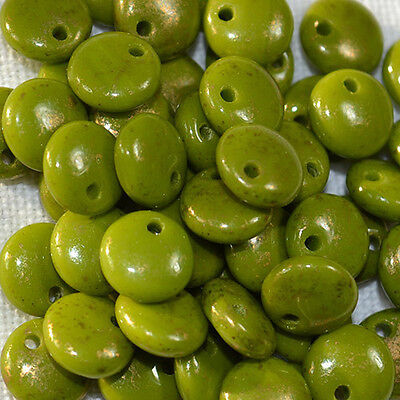 (50) Czech 6mm Glass Lentil - Opaque Olive - Marbled -