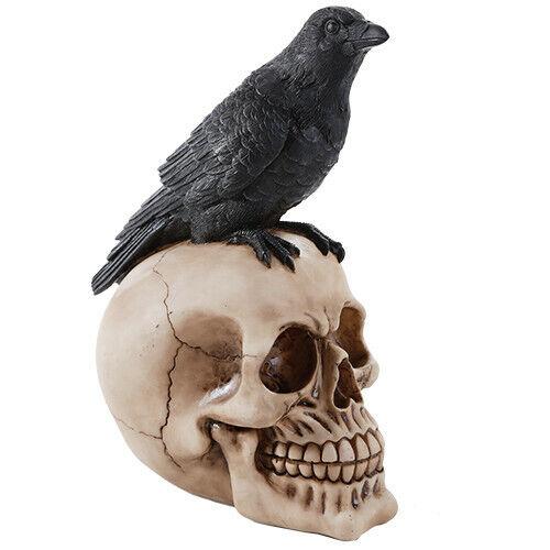 Black Raven Perched On Skull Poe Figurine Halloween Gothic Home Decor Skeleton