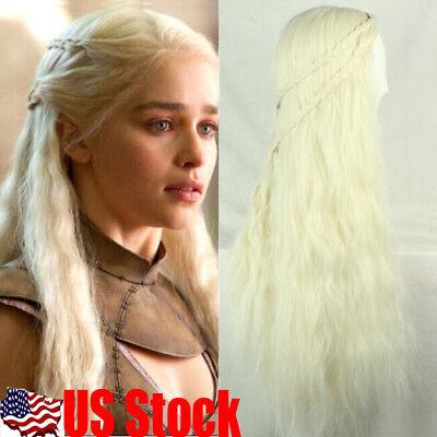 USA Game of Thrones Daenerys Targaryen Blonde Fluffy Long Synthetic Cosplay - Daenerys Targaryen Wig