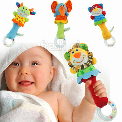 Kids Baby Lovely Soft Animal Model Hand bells Rattles Handle Developmental Toys