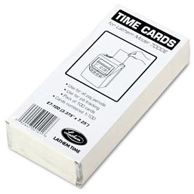 Lathem 7000e Double-sided Time Cards - 100 Sheets - White - 100 Pack