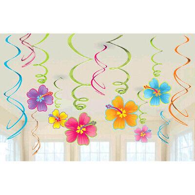 HAWAIIAN LUAU Hibiscus HANGING SWIRL DECORATIONS (12) ~ Birthday Party Supplies (Luau Birthday Party Decorations)
