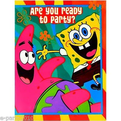 Spongebob Birthday Party Invitations (SPONGEBOB SQUAREPANTS Buddies INVITATIONS (16)~ Birthday Party Supplies)