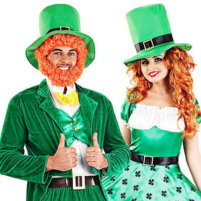 Leprechaun + Hat Adults Fancy Dress St Patricks Day Irish Ladies Costumes Outfit