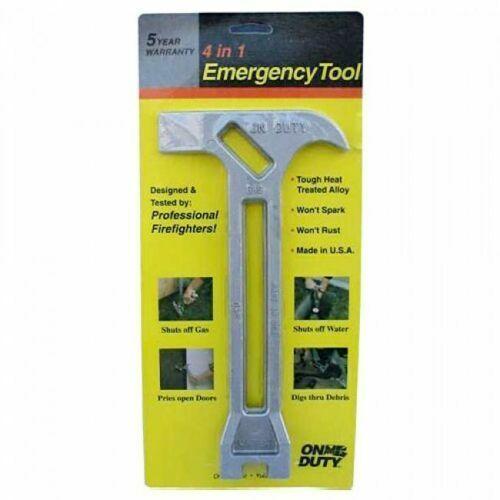 On Duty 4 in 1 Emergency Tool Gas Water Shutoff Entry Prybar Earthquake Kit