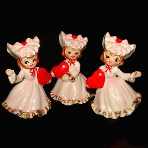 RARE 3 VinTAgE LeFTon Girl Valentine Figurines with Frilly Dresses and Hearts