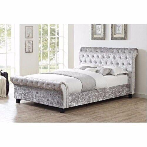 DERBY VELVET SLEIGH BEDS - BRAND NEW - MEMORY FOAM MATTRESS INCLUDED - DELIVERED