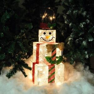 75cm Tall Indoor Square Light Up Christmas Snowman Light Decoration Boxes Free P