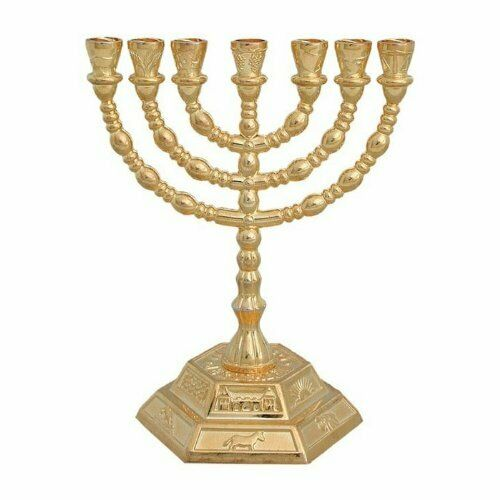 7 Branch Hexagonal Base 12 Tribes of Israel Menorah in Gold