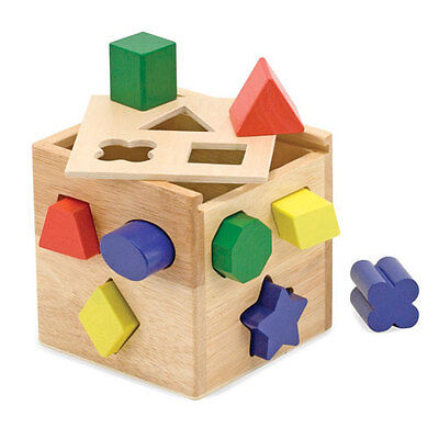 Melissa and Doug * Wooden Shape Sorting Cube * NEW classic toy child learn skill