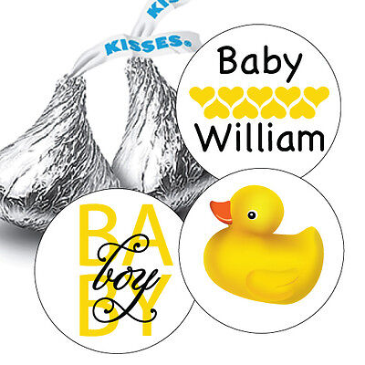 108 Baby Boy Rubber Ducky Baby Shower Hershey Kiss Stickers Party