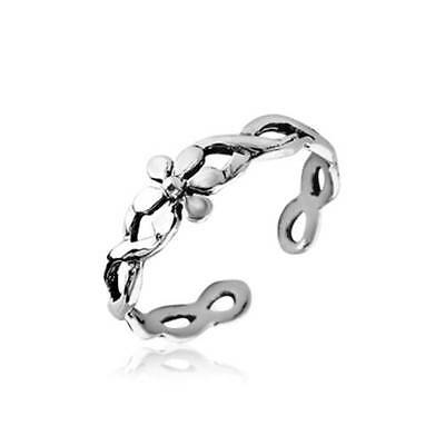 Flower Twisted Toe Ring Sterling Silver 925 Jewelry Size Adjustable