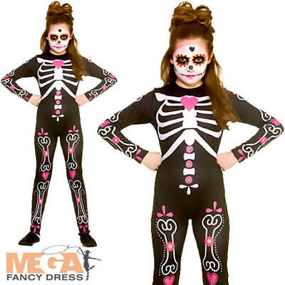 Candy Skull Girls Fancy Dress Halloween Day of the Dead Skeleton Childs Costume