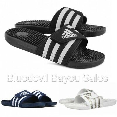 Adidas Men's Adissage Sandals-White/Black/Blue