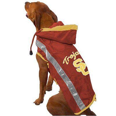 Collegiate Licensed Dog Pet Slicker Raincoat University Southern Cal USC Size M