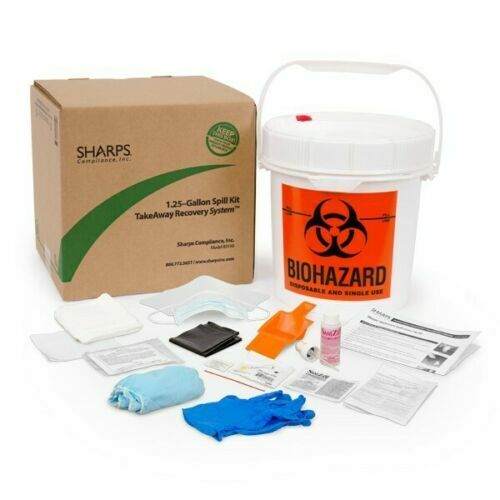SHARPS COMPLIANCE 1.25-GALLON Biohazard Spill Kit TakeAway Recovery System