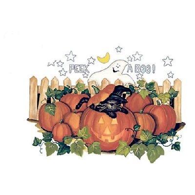 Peek A Boo Halloween pumpkins and black cat     Tshirt Sizes/Colors