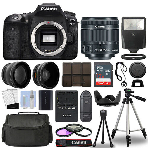 Canon EOS 90D DSLR Camera Body + 3 Lens Kit 18-55mm IS STM + 16GB + Flash & More