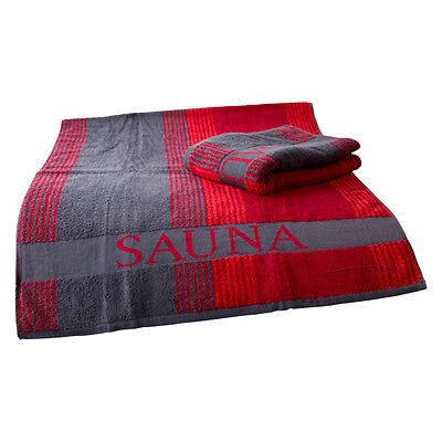 SAUNATUCH XL 80 x 200 cm schwere Qualität, Saunahandtuch Liegetuch rot/anthrazit
