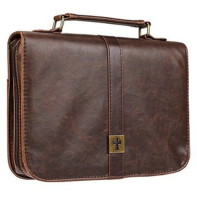 Distressed Leather-Look Bible / Book Cover w/Cross Badge (Large)