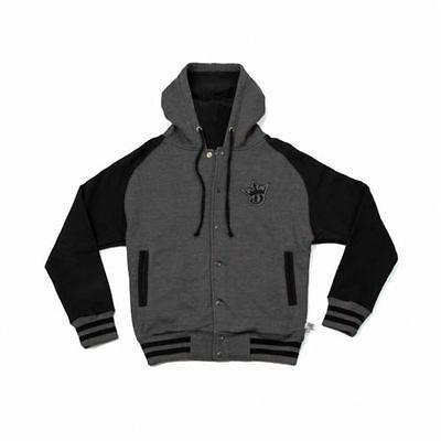 New Draftkings Mens Varsity Sweatshirt Jacket Charcoal Black Large L 2014 Rare