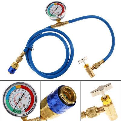R134A AC HVAC Refrigerant Recharge Hose w/ Charging Pipe Hose Measuring Gauge HL