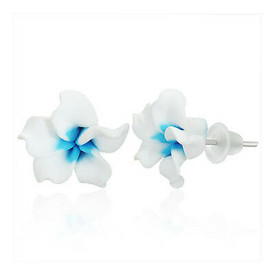 Plumeria Ohrringe Ohrstecker Blüte Blume Fimo Polymer Clay Frangipani