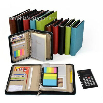 2019 Top Leather Binder Organizer Spiral Planner Dairy Zipper With Calculator