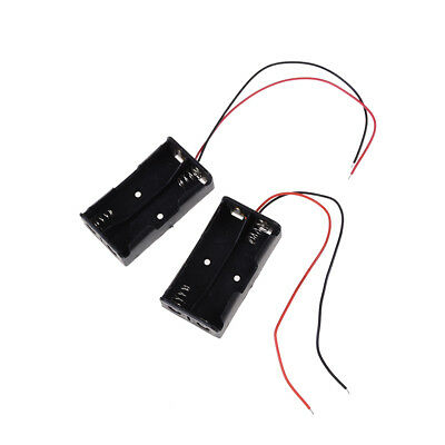 """2 pcs Plastic Battery Storage Case Box Holder for 2 x AA with 6"""" Wire Leads TSCA"""