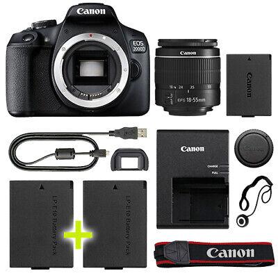 Canon EOS 2000D / T7 Digital SLR Camera with 18-55mm Lens + Backup Power Kit